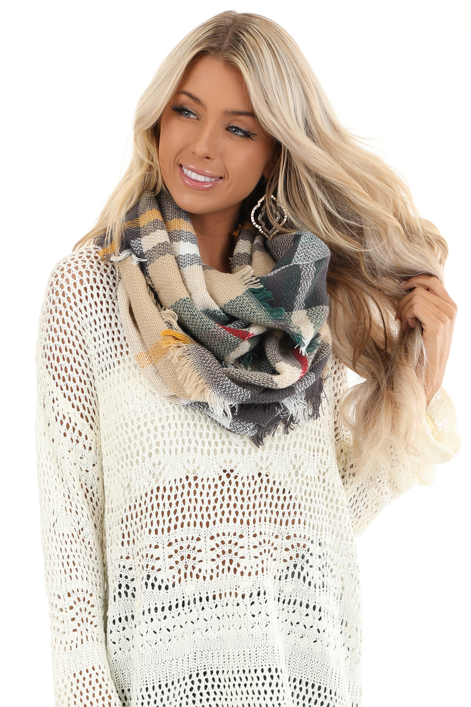 Khaki and Charcoal Grey Plaid Scarf with Fringe Detail