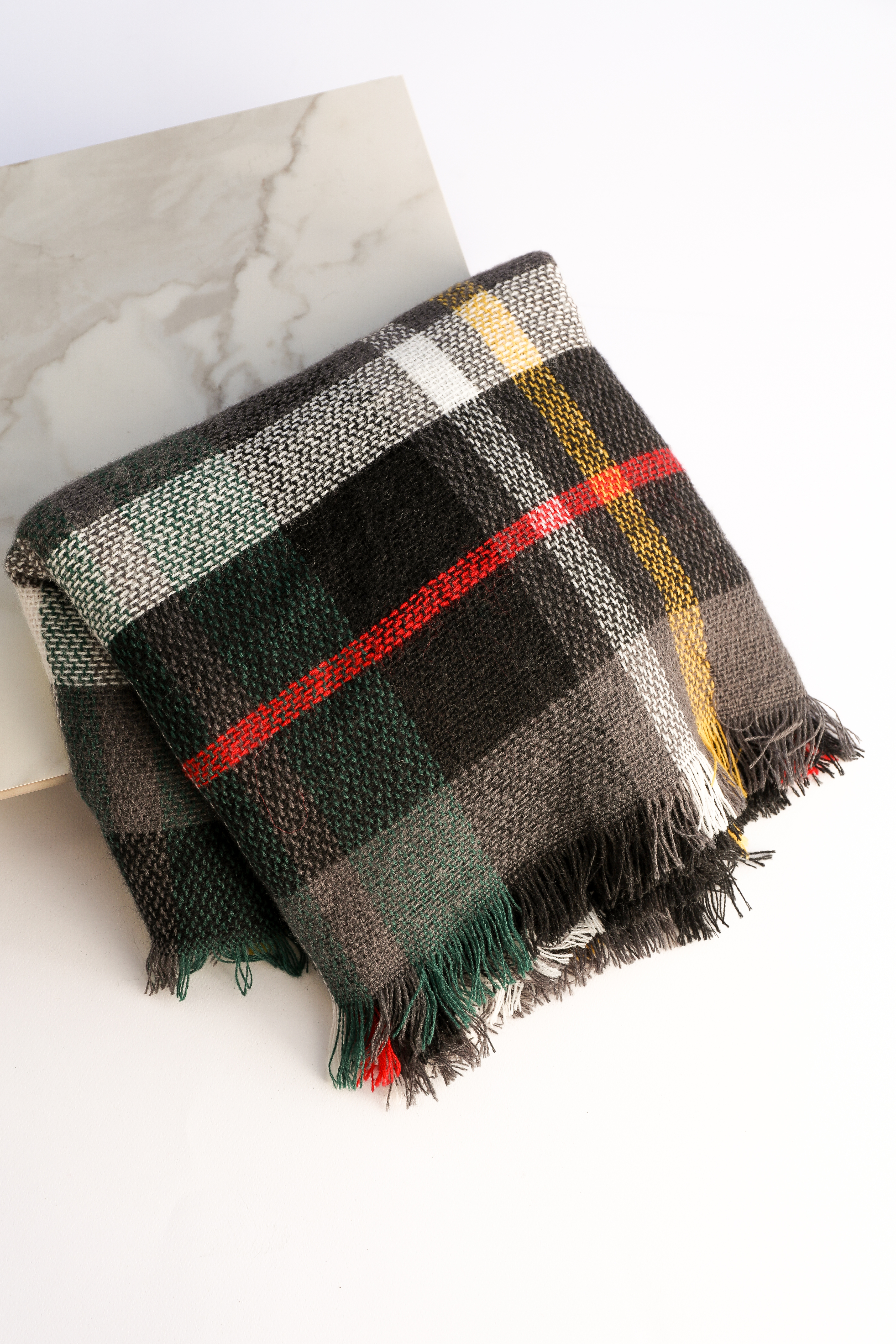 Black and Heather Grey Plaid Scarf with Fringe Detail