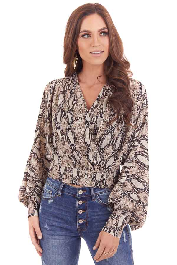Mocha Snakeskin Print Surplice Top with Long Sleeves front close up
