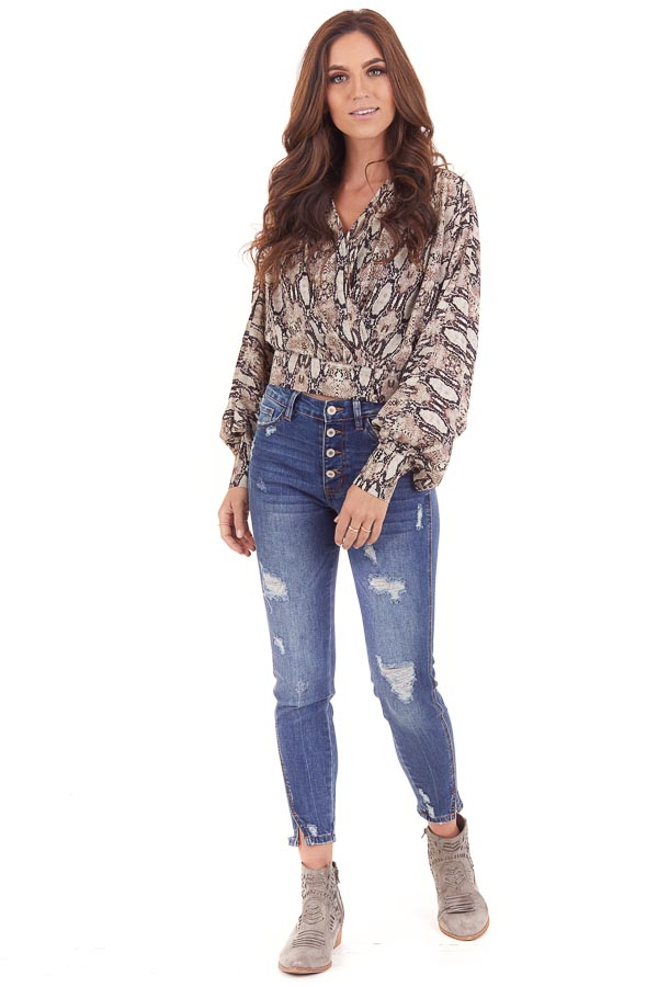 Mocha Snakeskin Print Surplice Top with Long Sleeves front full body