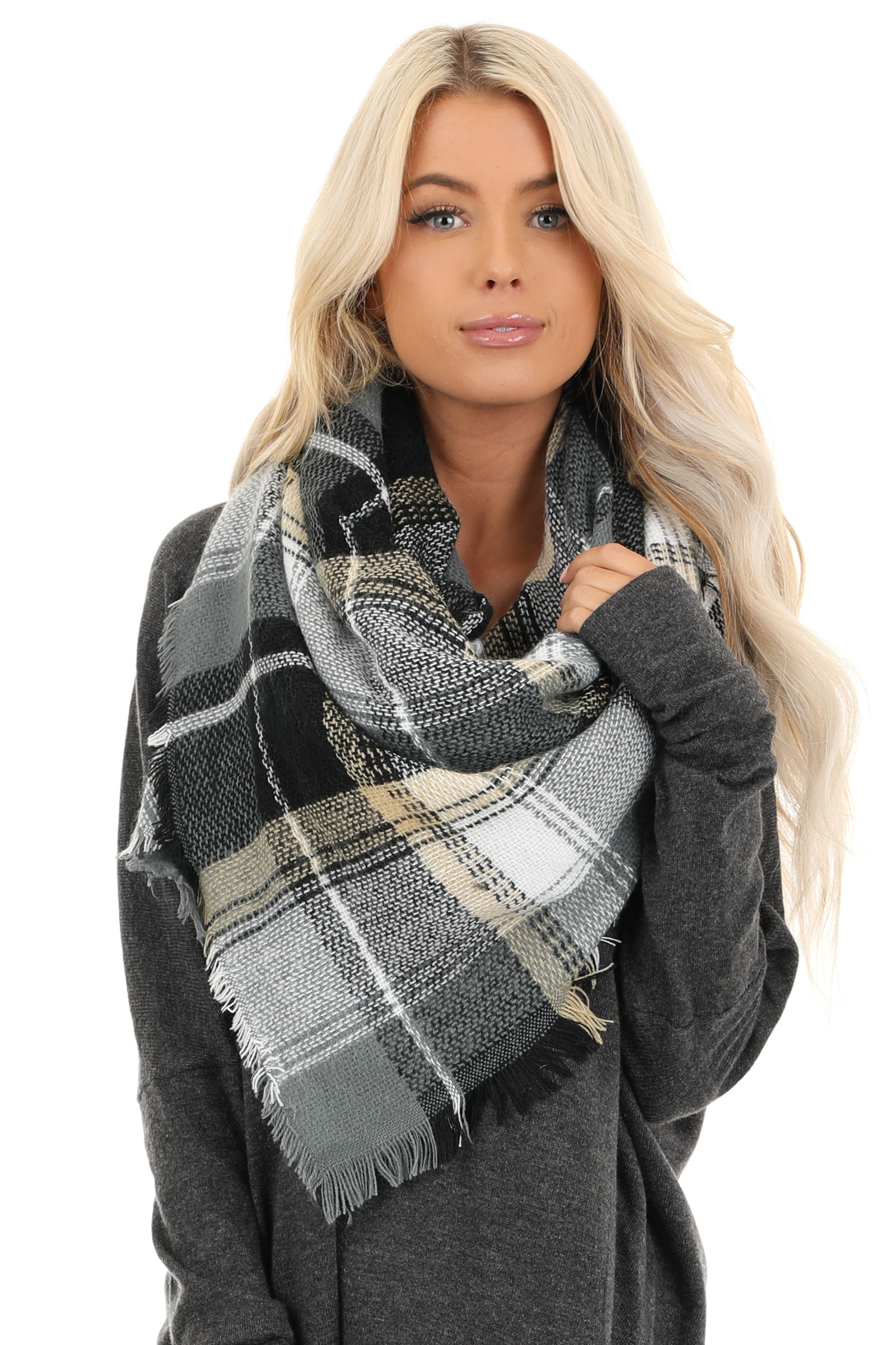 Charcoal Black and Tan Plaid Print Blanket Scarf with Fringe