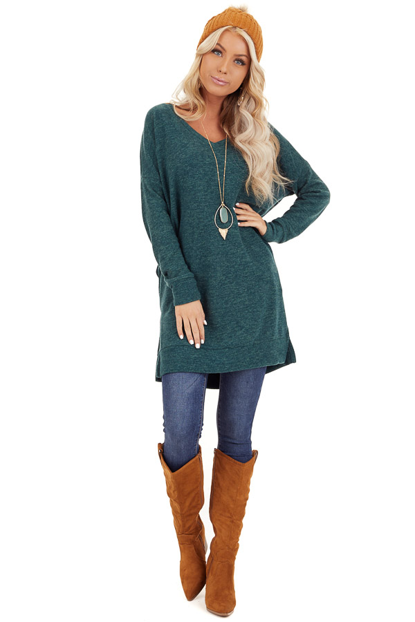 Dark Green Two Tone Tunic Length Top with Long Sleeves front full body