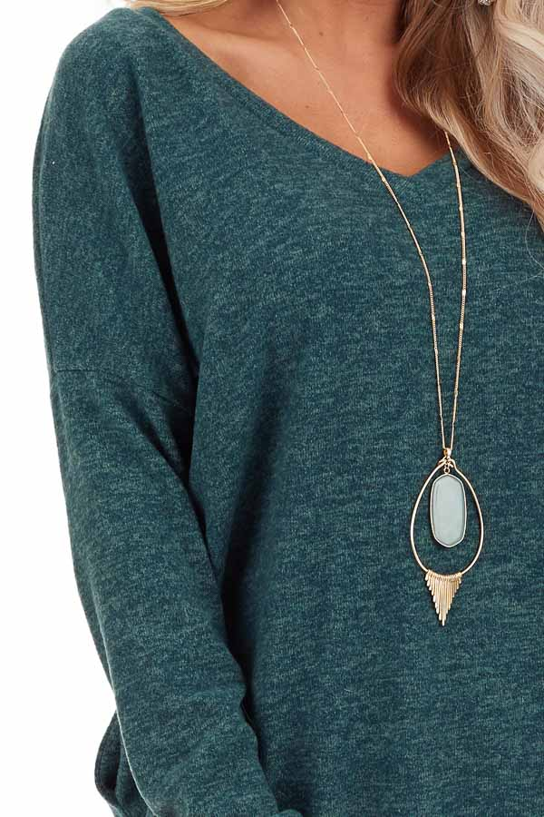 Dark Green Two Tone Tunic Length Top with Long Sleeves detail