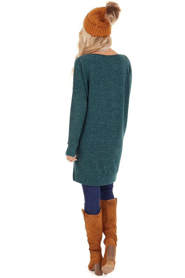 Dark Green Two Tone Tunic Length Top with Long Sleeves back full body