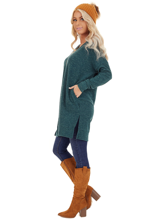 Dark Green Two Tone Tunic Length Top with Long Sleeves side full body