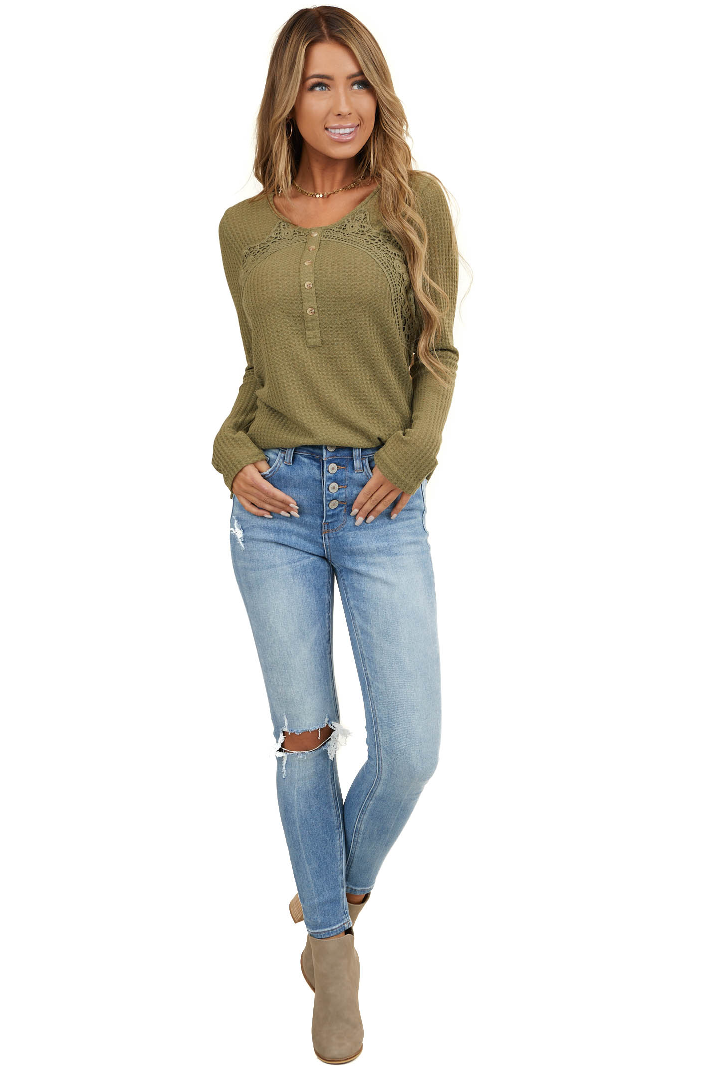 Olive Ribbed Long Sleeve Top with Button and Crochet Details