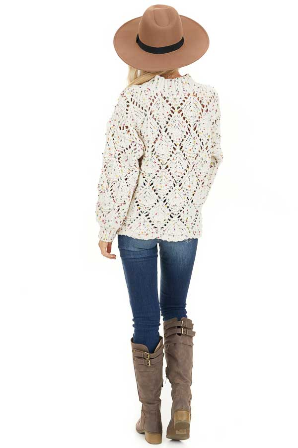 Ivory Confetti Long Sleeve Mock Neck Knit Chunky Sweater back full body