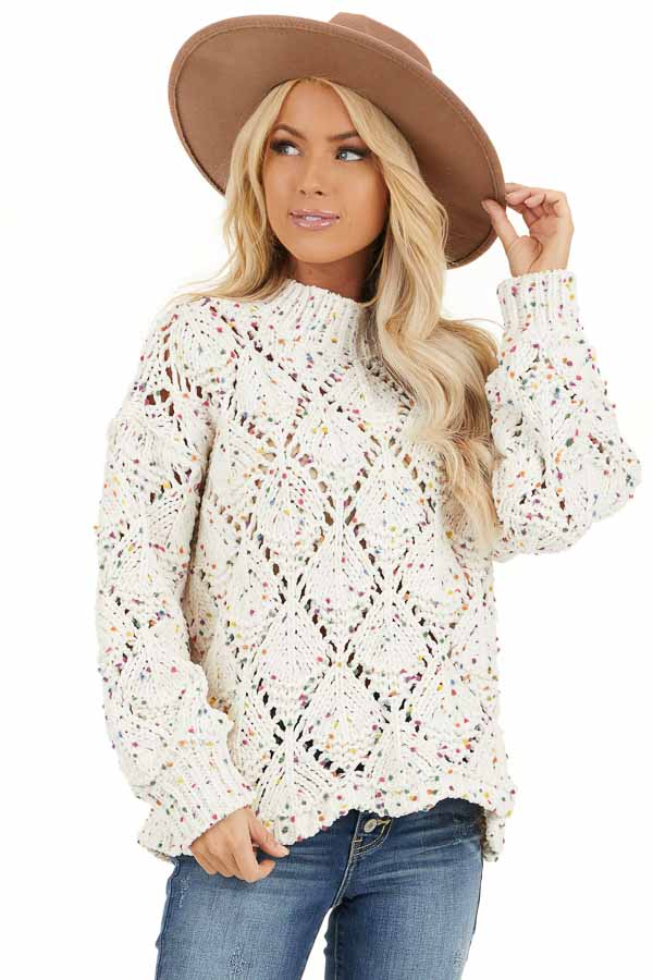 Ivory Confetti Long Sleeve Mock Neck Knit Chunky Sweater front close up
