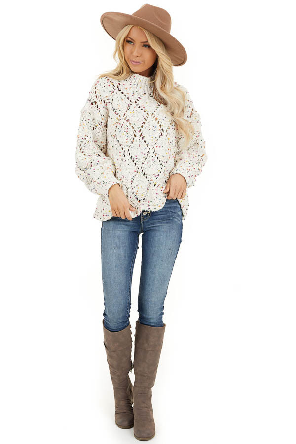 Ivory Confetti Long Sleeve Mock Neck Knit Chunky Sweater front full body