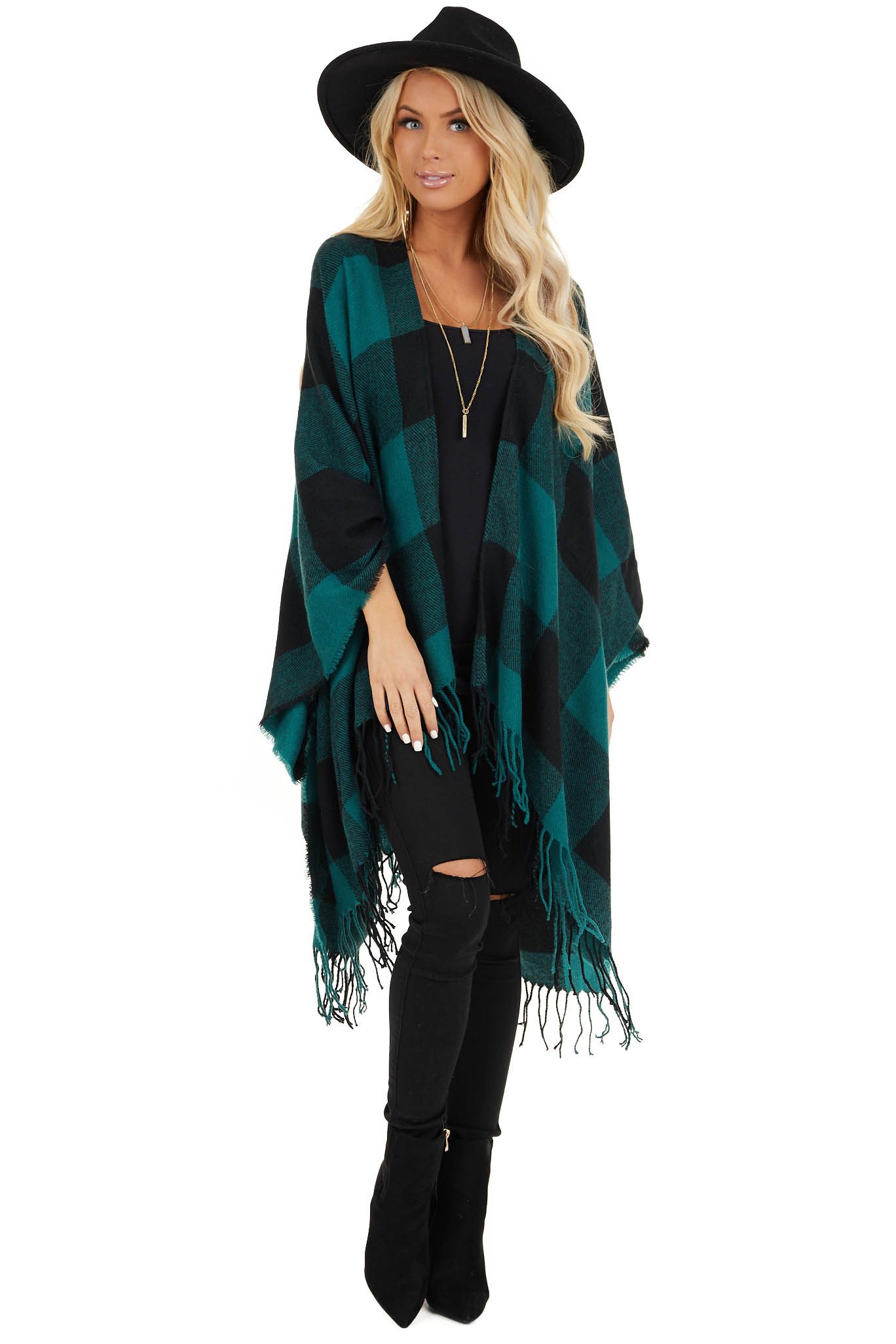 Forest Green and Black Buffalo Plaid Oversized Cardigan front full body