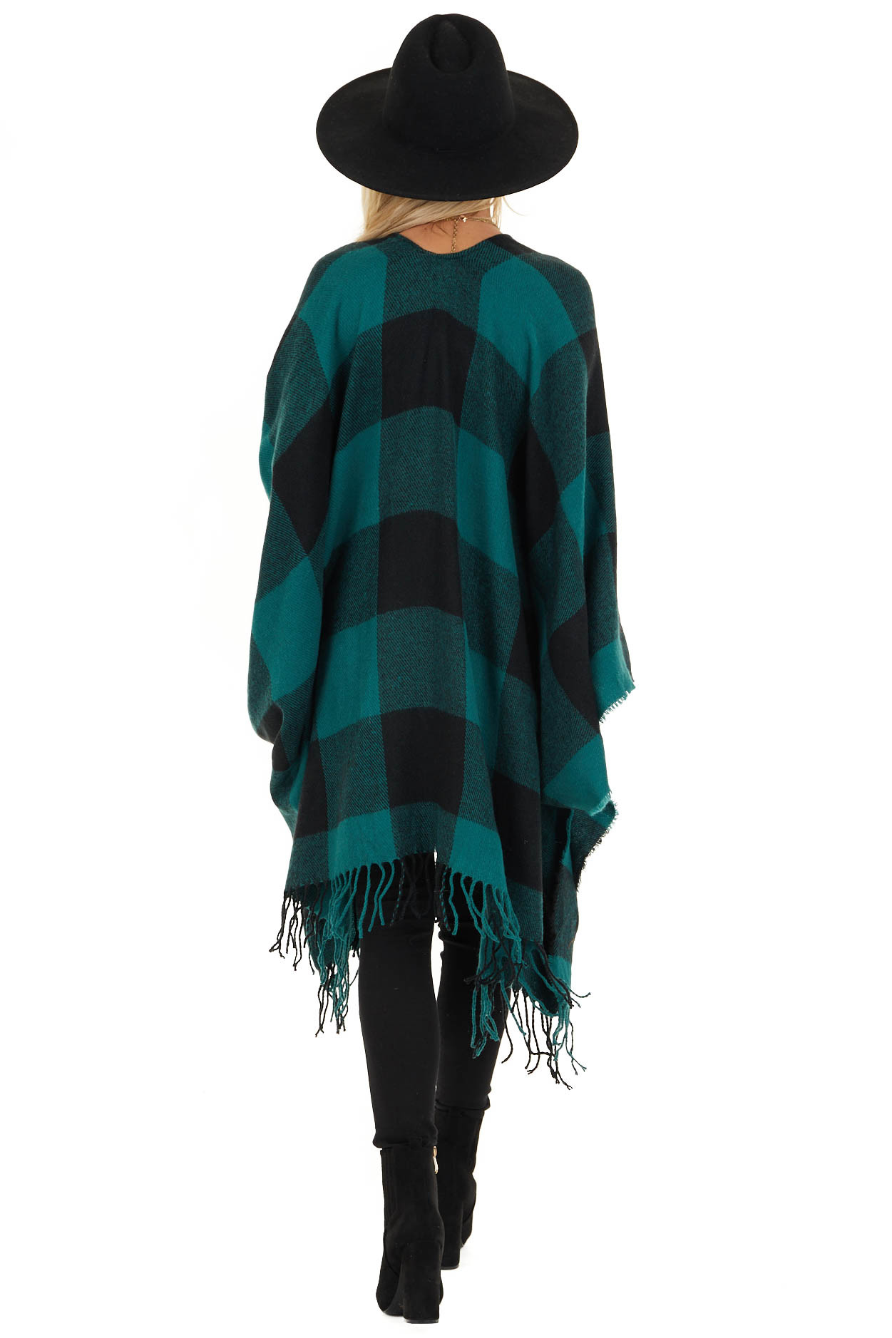 Forest Green and Black Buffalo Plaid Oversized Cardigan back full body