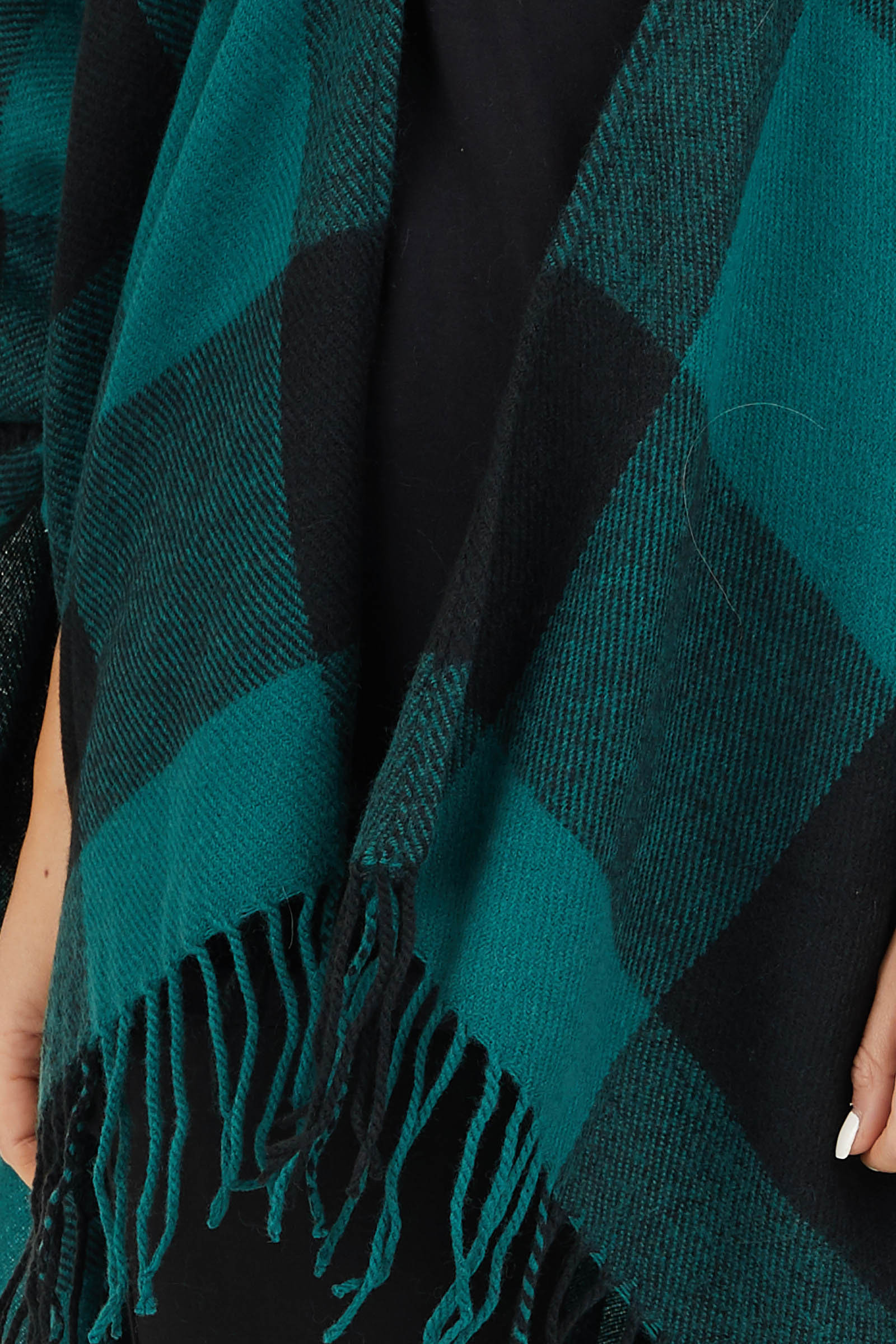 Forest Green and Black Buffalo Plaid Oversized Cardigan detail