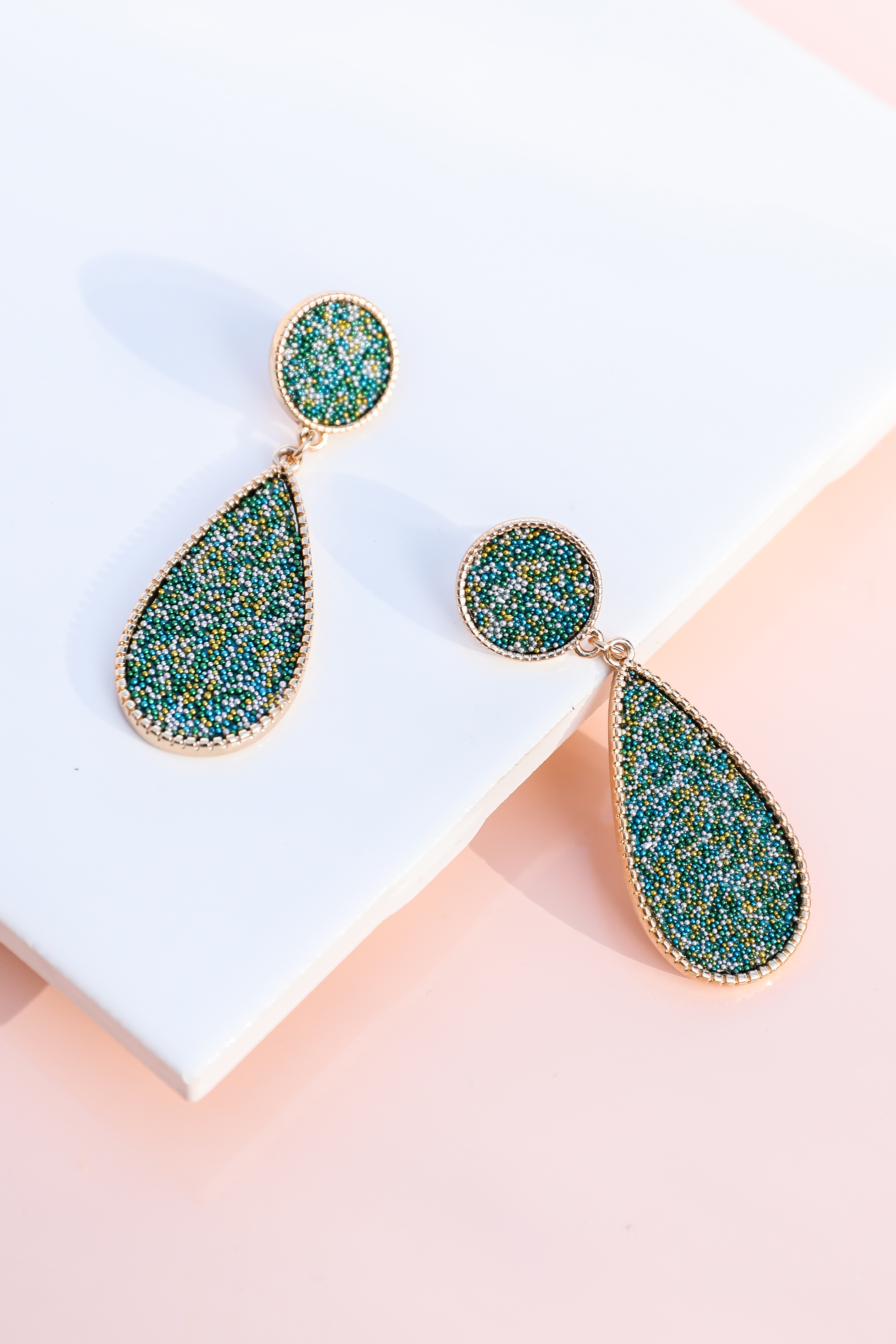 Teal and Gold Tear Drop Earrings with Tiny Bead Detail