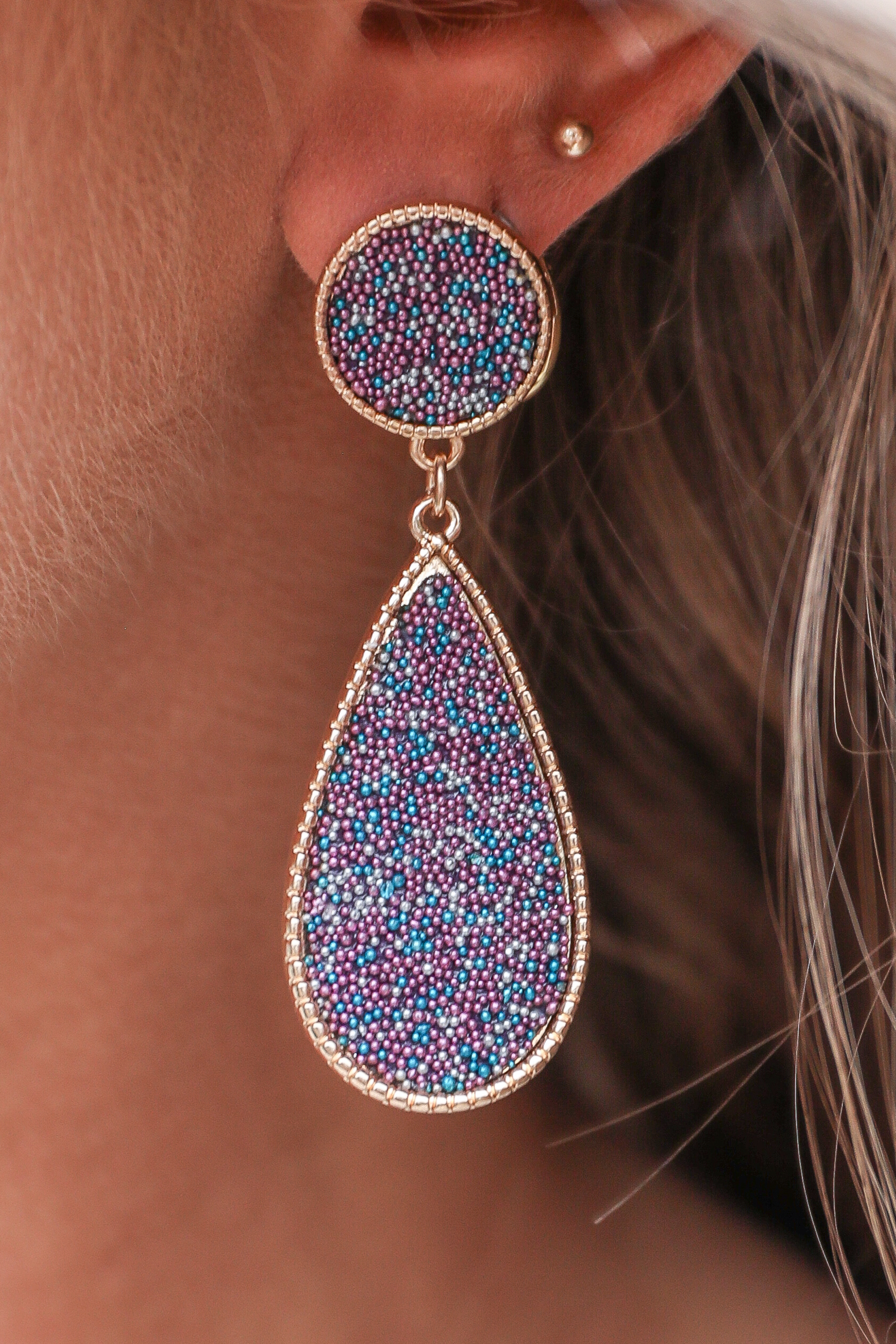 Violet and Gold Tear Drop Earrings with Tiny Bead Detail