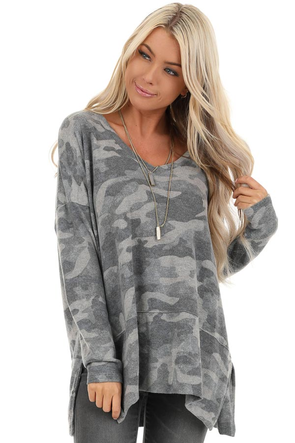 Charcoal Camo Print Top with Long Sleeves and V Neckline front close up