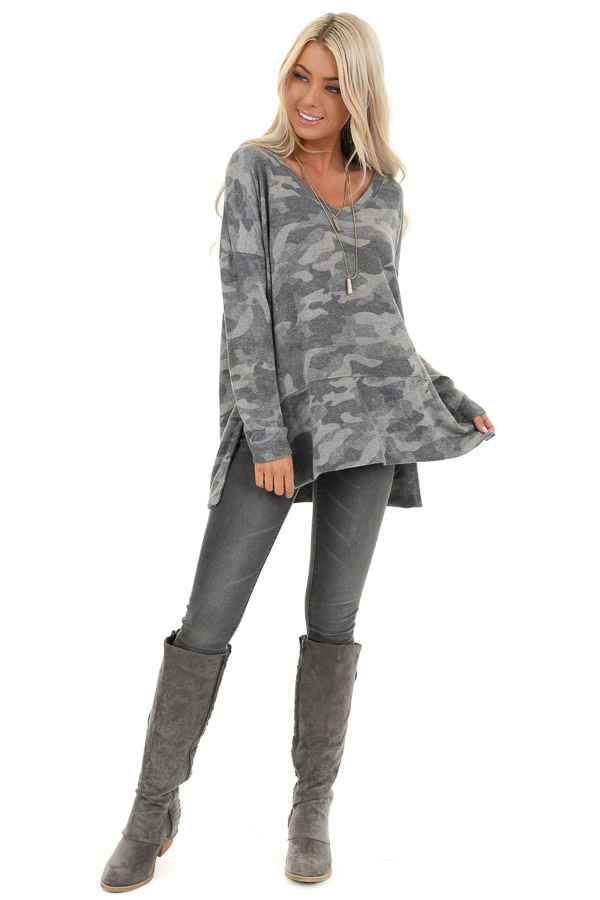 Charcoal Camo Print Top with Long Sleeves and V Neckline front full body