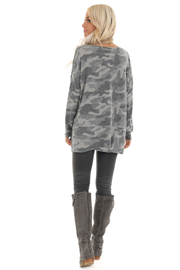 Charcoal Camo Print Top with Long Sleeves and V Neckline back full body