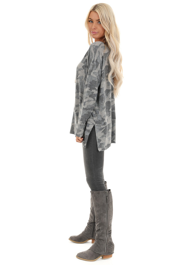 Charcoal Camo Print Top with Long Sleeves and V Neckline side full body