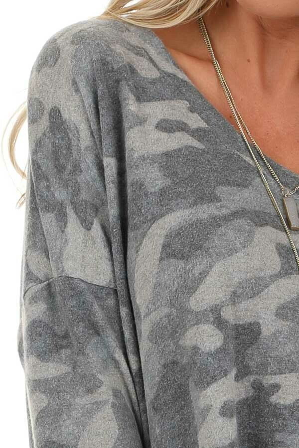 Charcoal Camo Print Top with Long Sleeves and V Neckline detail