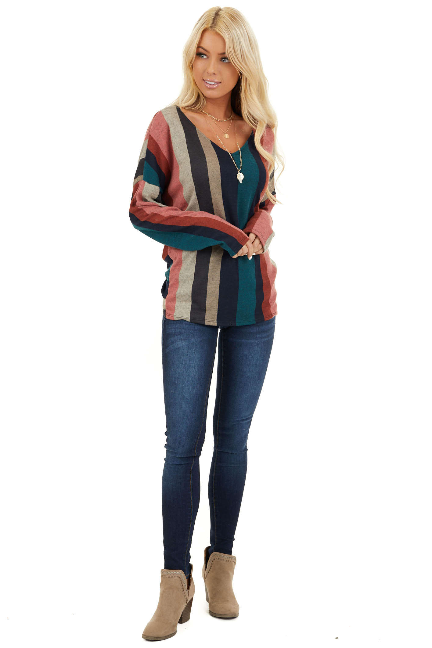 Multi Color Striped Long Sleeve V Neck Top with Back Twist front full body