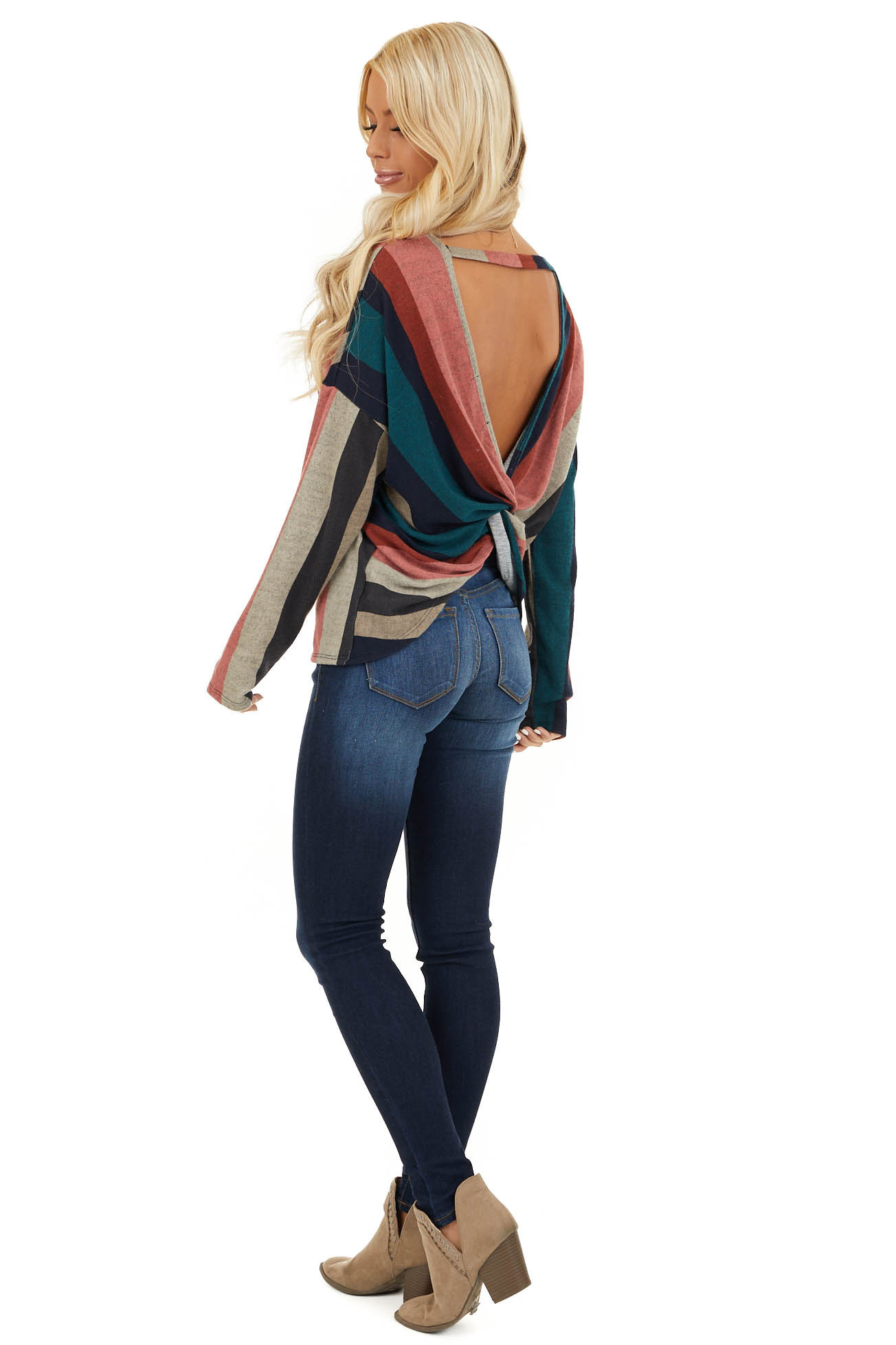 Multi Color Striped Long Sleeve V Neck Top with Back Twist side full body