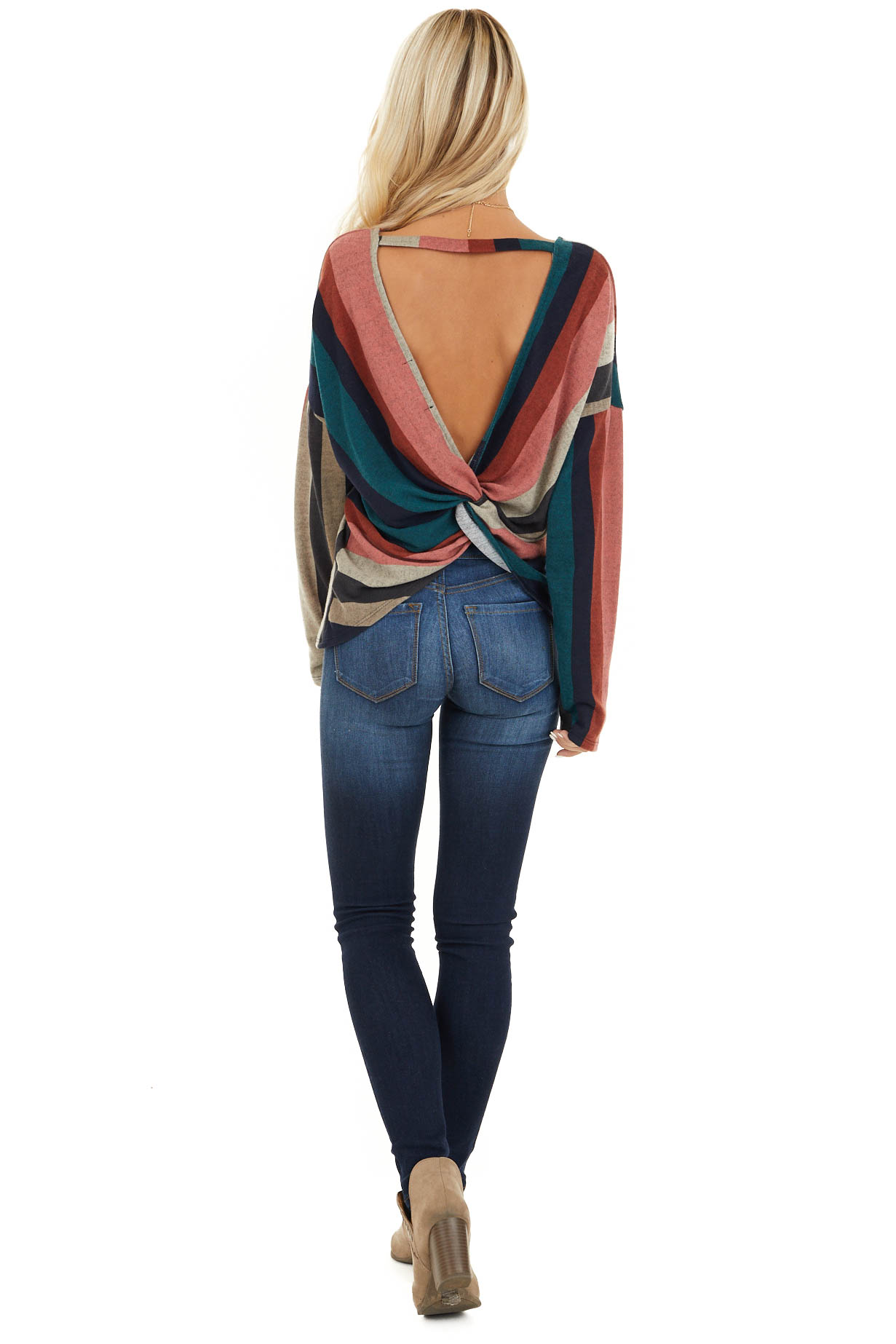 Multi Color Striped Long Sleeve V Neck Top with Back Twist back full body