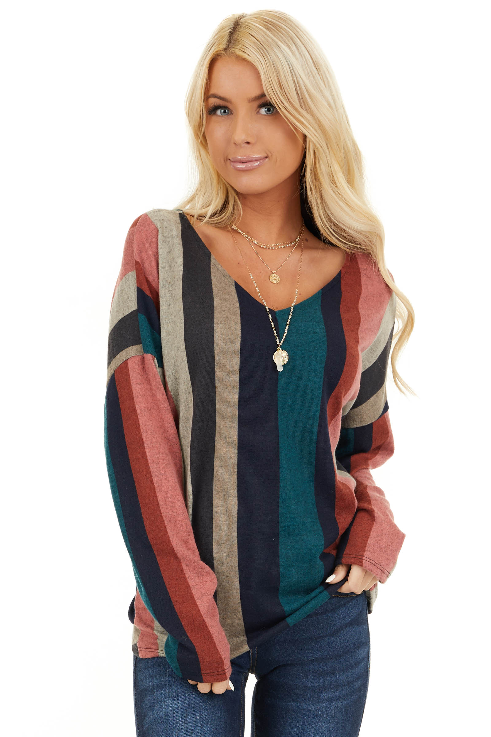 Multi Color Striped Long Sleeve V Neck Top with Back Twist front close up