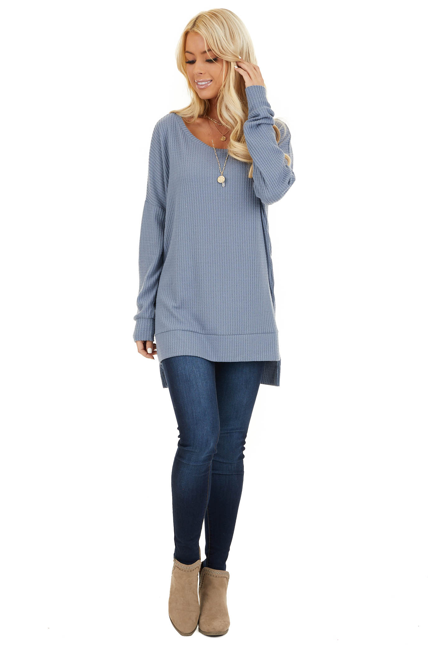 Stormy Blue Long Sleeve Waffle Knit Top with Side Slits front full body