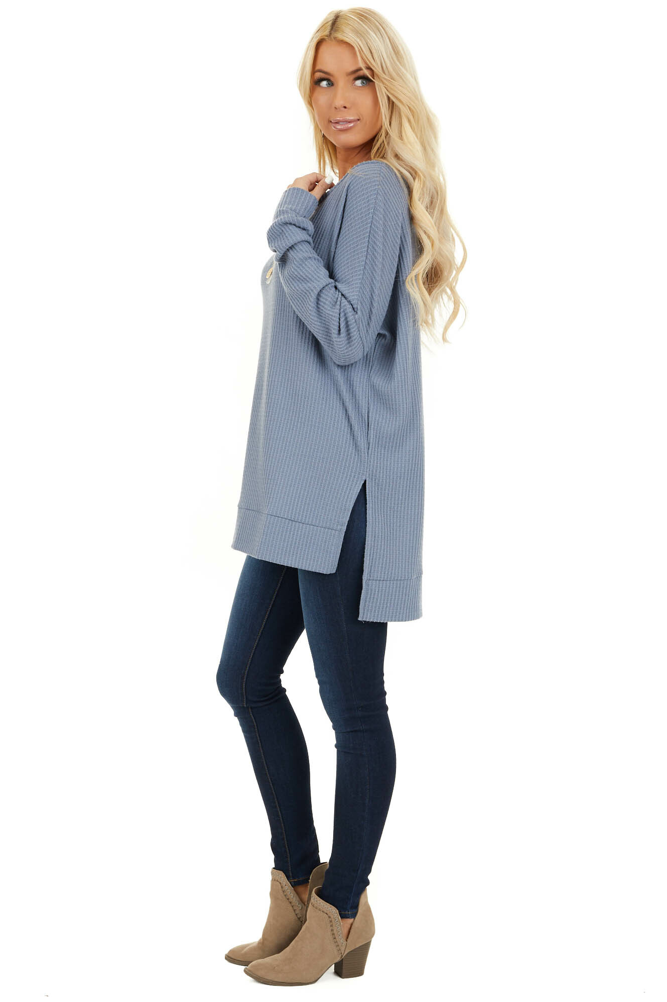 Stormy Blue Long Sleeve Waffle Knit Top with Side Slits side full body