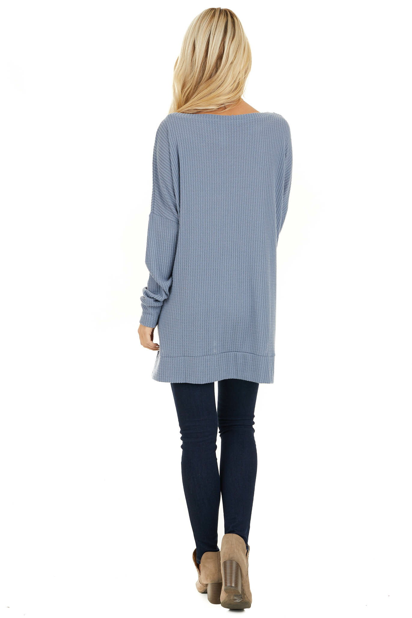 Stormy Blue Long Sleeve Waffle Knit Top with Side Slits back full body