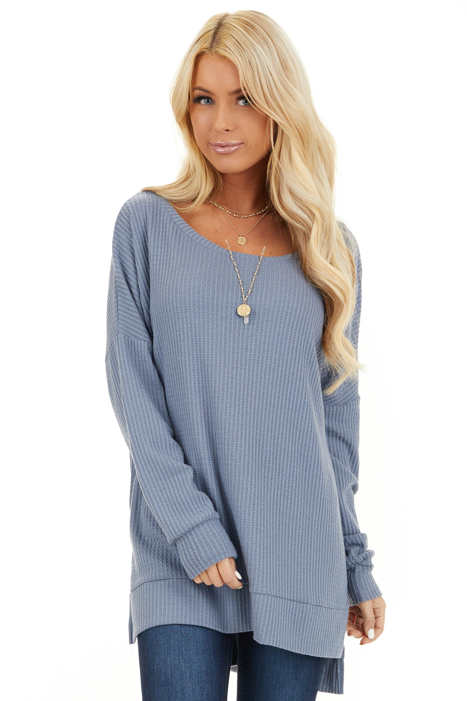 Stormy Blue Long Sleeve Waffle Knit Top with Side Slits front close up
