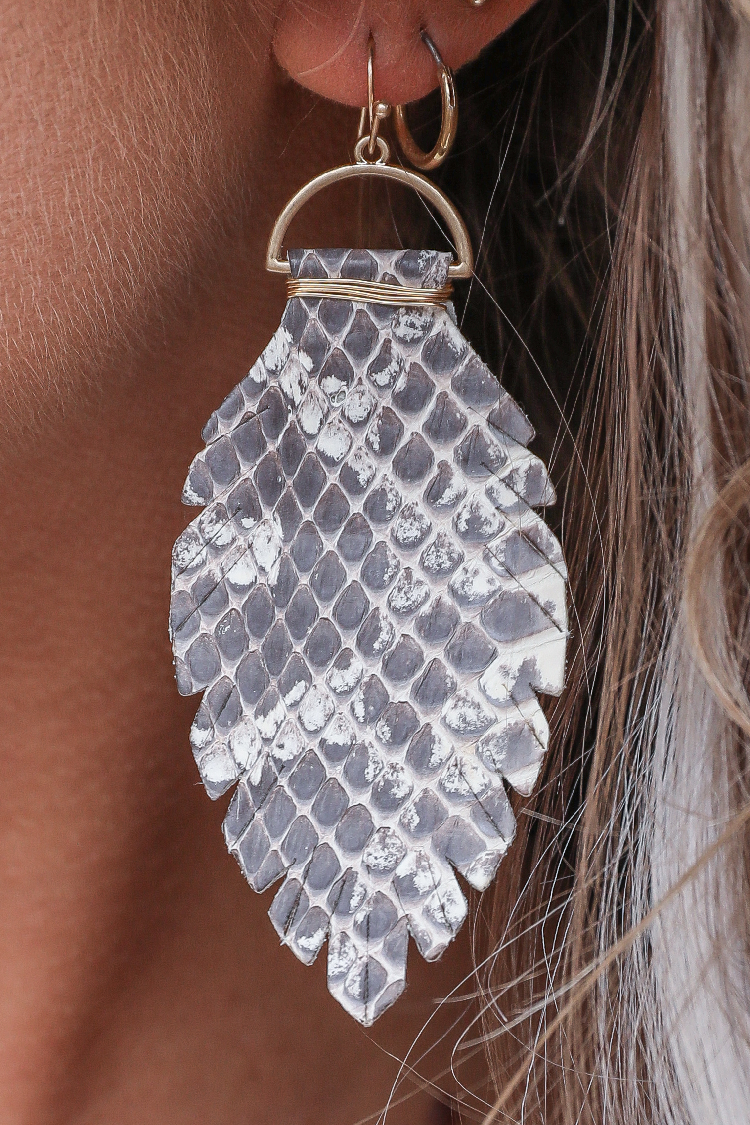 Ivory Leather Snakeskin Print Leaf Shaped Earrings