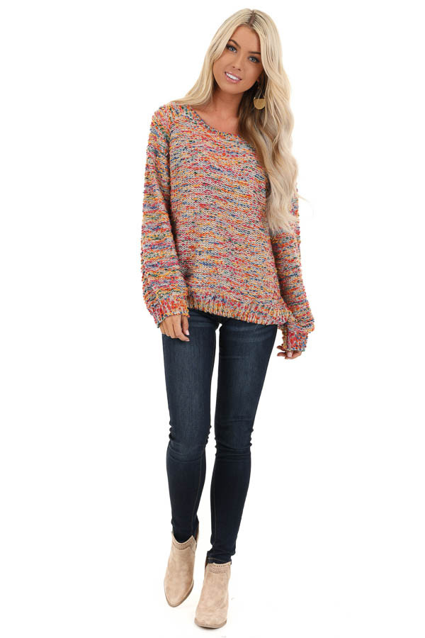 Multi Color Popcorn Knit Sweater with Long Balloon Sleeves front full body