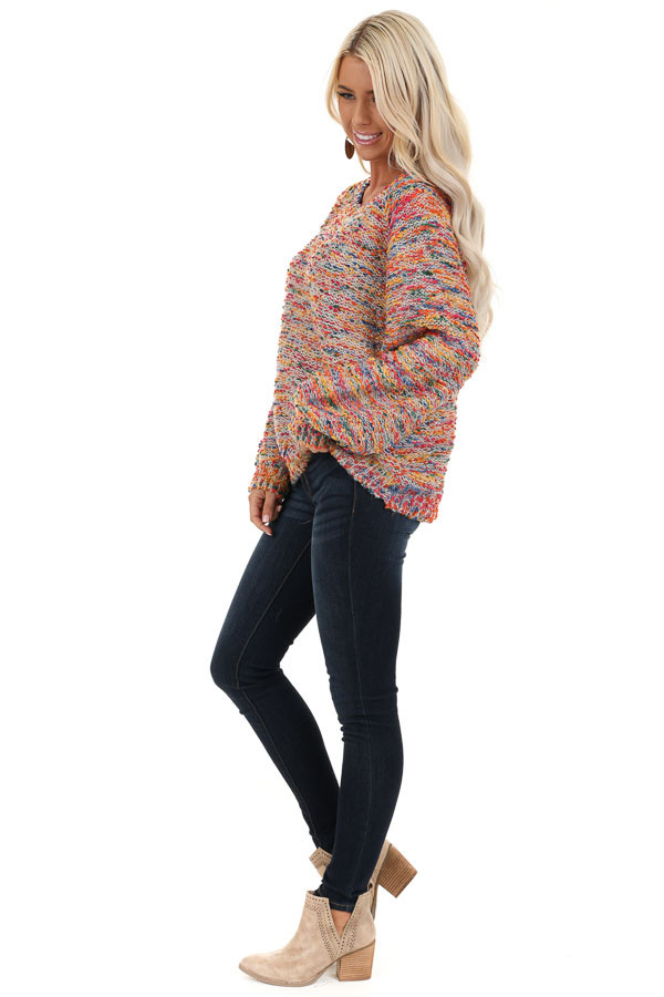 Multi Color Popcorn Knit Sweater with Long Balloon Sleeves side full body