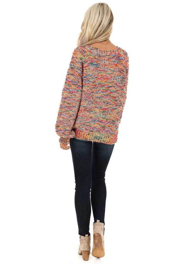 Multi Color Popcorn Knit Sweater with Long Balloon Sleeves back full body