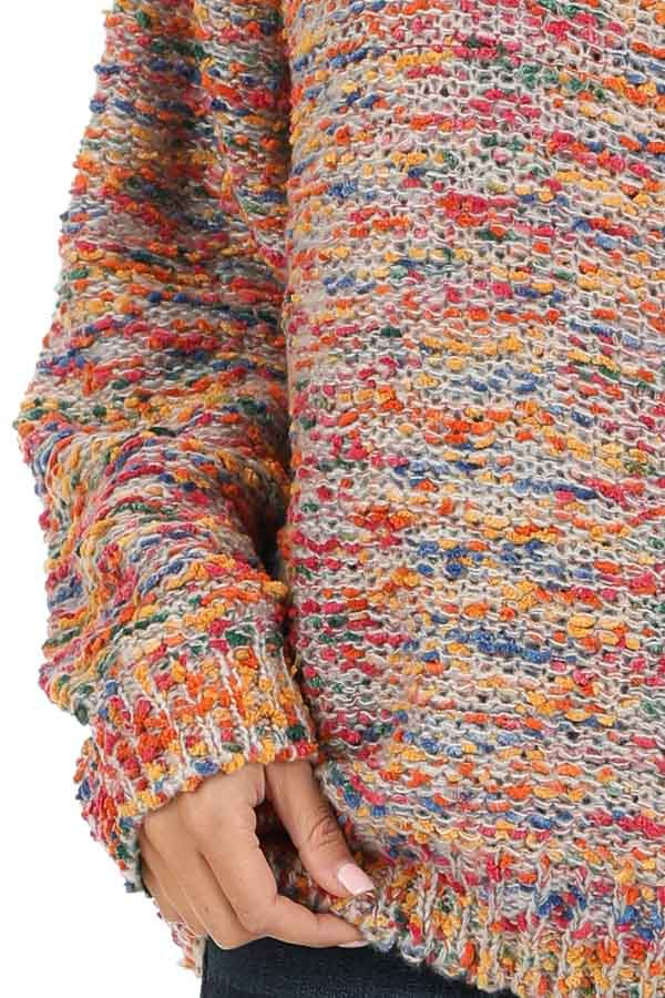 Multi Color Popcorn Knit Sweater with Long Balloon Sleeves detail