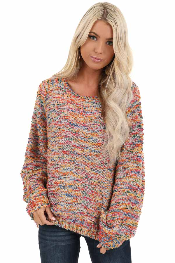 Multi Color Popcorn Knit Sweater with Long Balloon Sleeves front close up