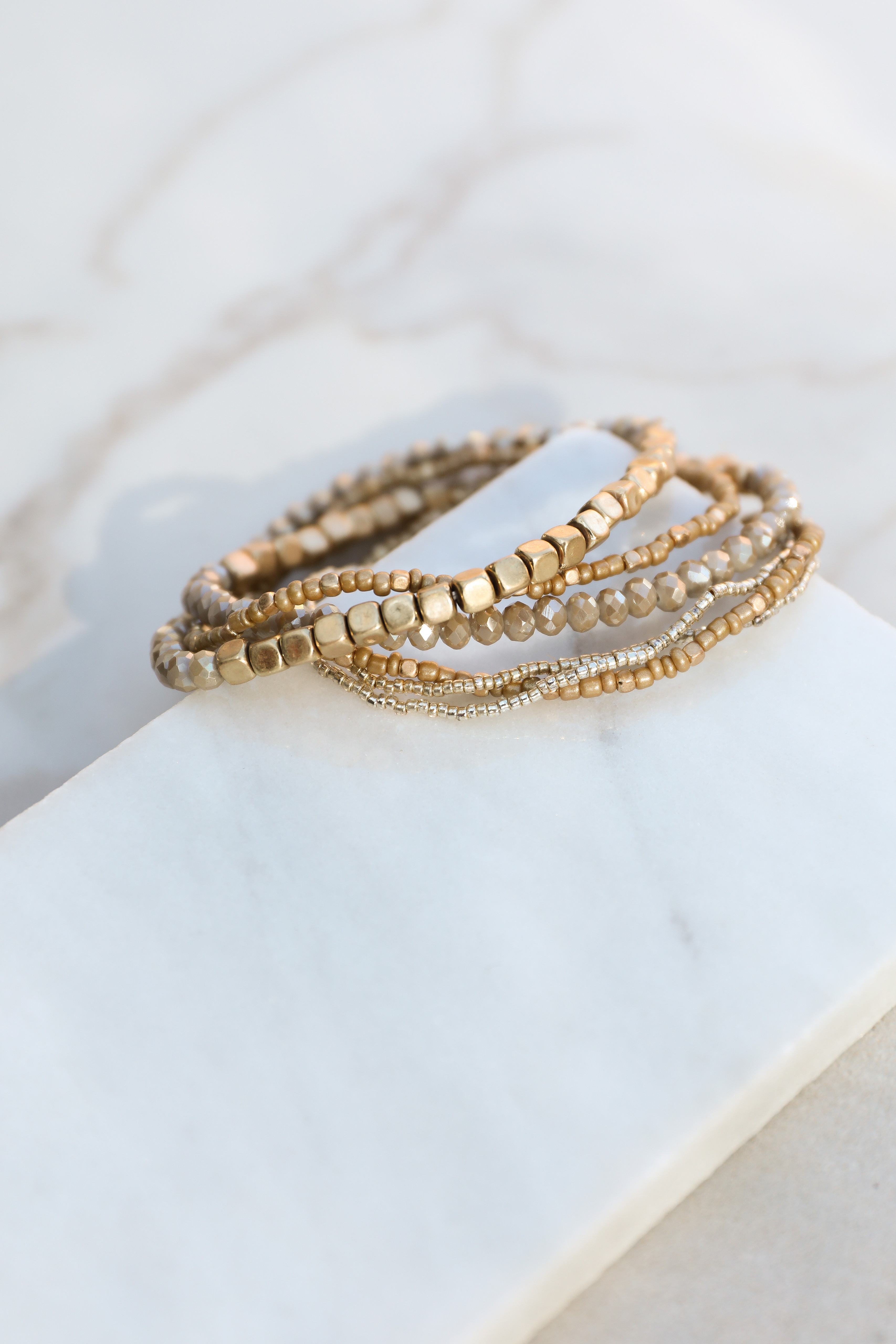 Gold and Taupe Beaded Stacked Bracelet Set