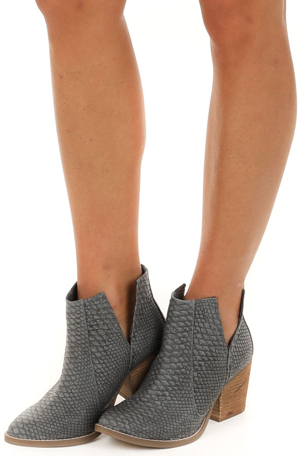 Charcoal Snake Print Textured Bootie with Tan Stacked Heel side view