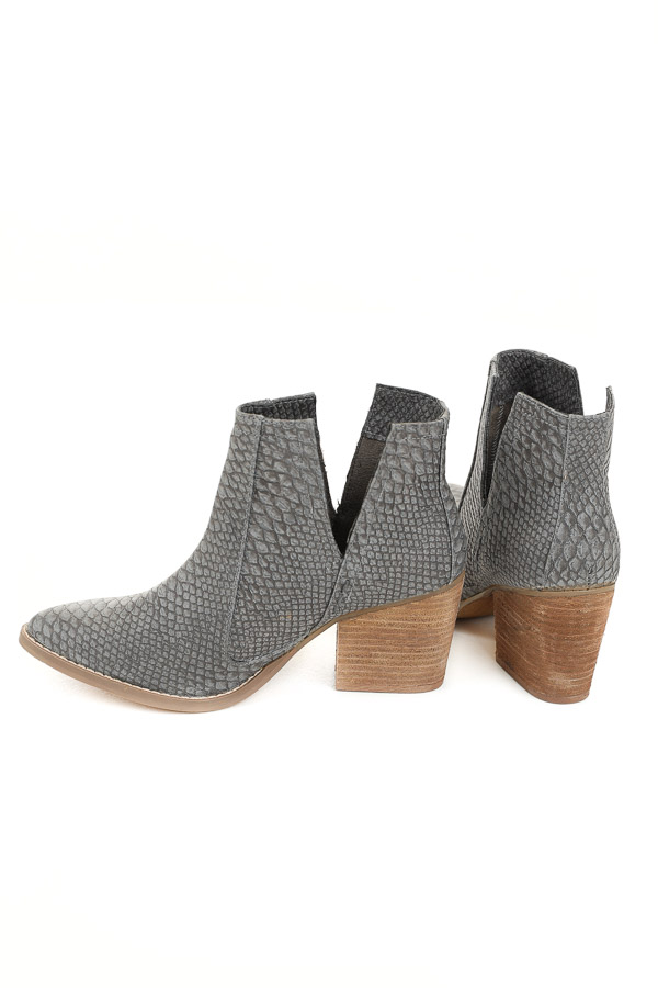 Charcoal Snake Print Textured Bootie with Tan Stacked Heel