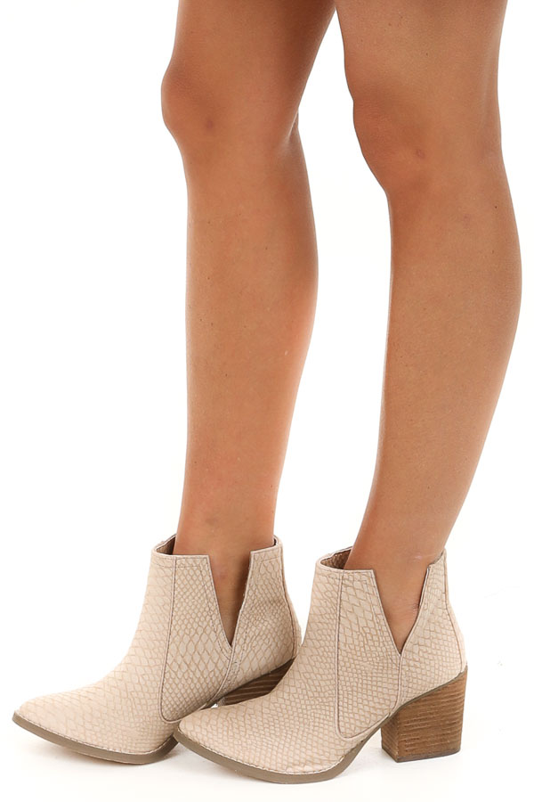 Pale Blush Snake Print Textured Bootie with Tan Stacked Heel side view