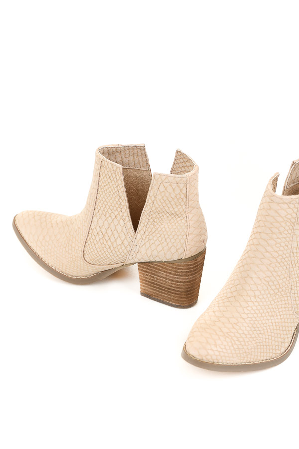 Pale Blush Snake Print Textured Bootie with Tan Stacked Heel