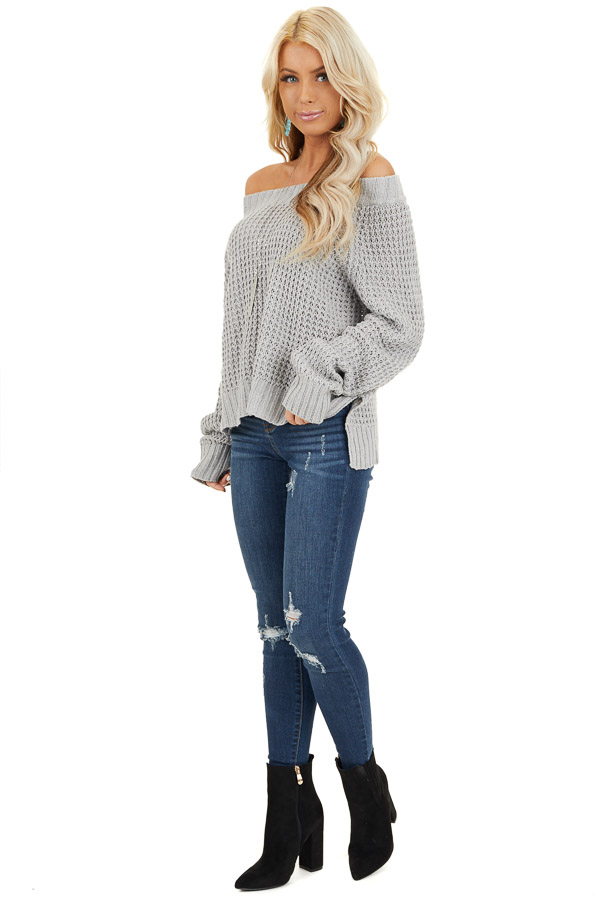 Light Grey Off the Shoulder Knit Top with Long Sleeves side full body