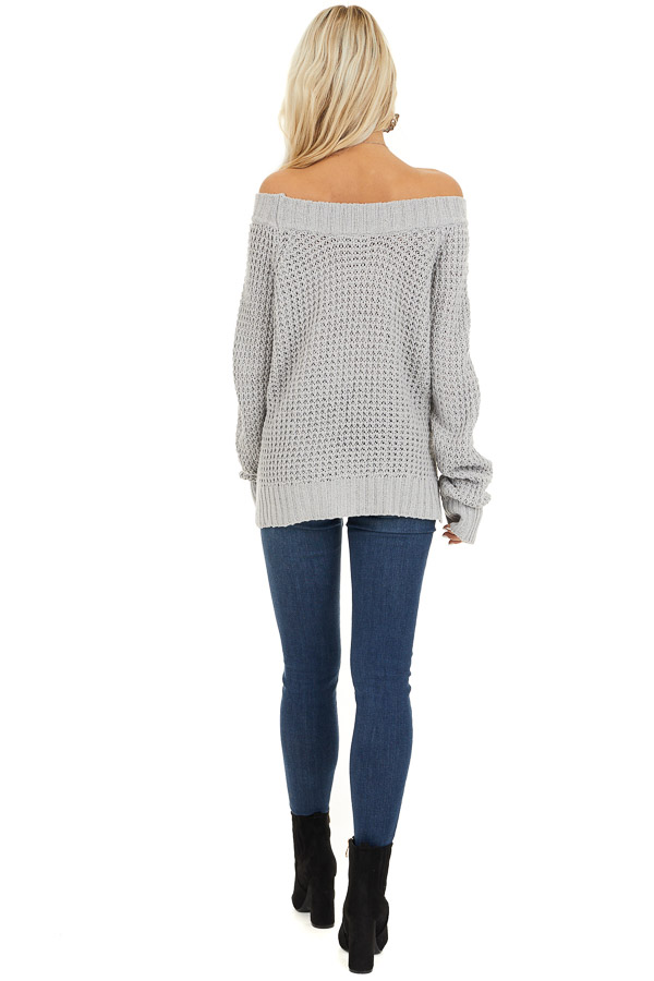 Light Grey Off the Shoulder Knit Top with Long Sleeves back full body