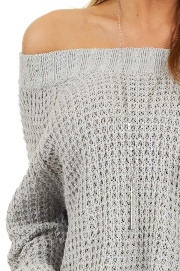 Light Grey Off the Shoulder Knit Top with Long Sleeves detail