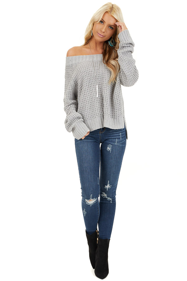 Light Grey Off the Shoulder Knit Top with Long Sleeves front full body
