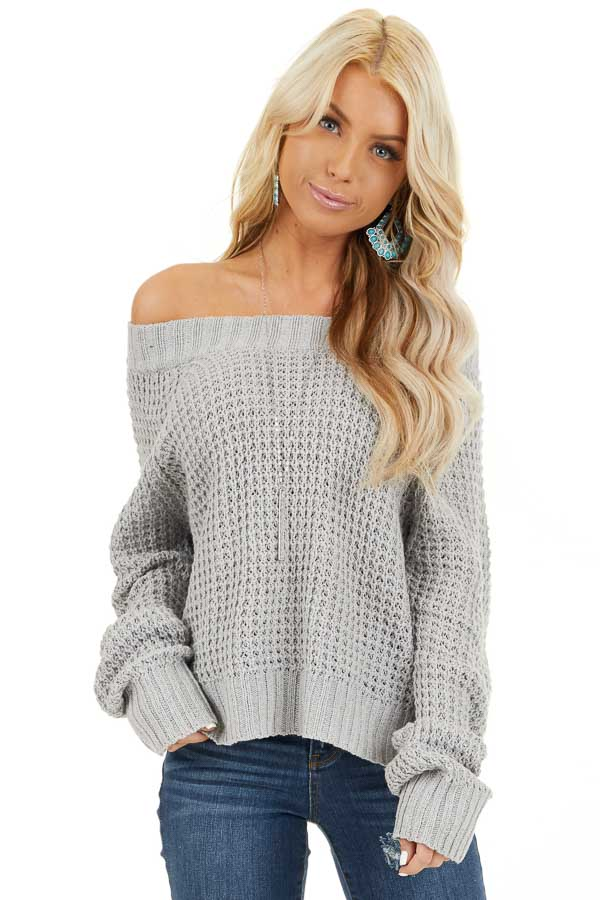 Light Grey Off the Shoulder Knit Top with Long Sleeves front close up