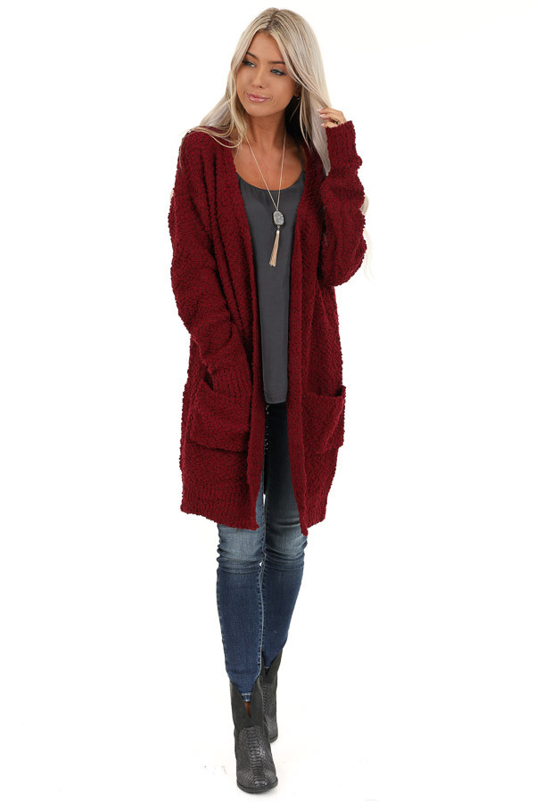 Sangria Popcorn Knit Long Sleeve Cardigan with Front Pockets front full body