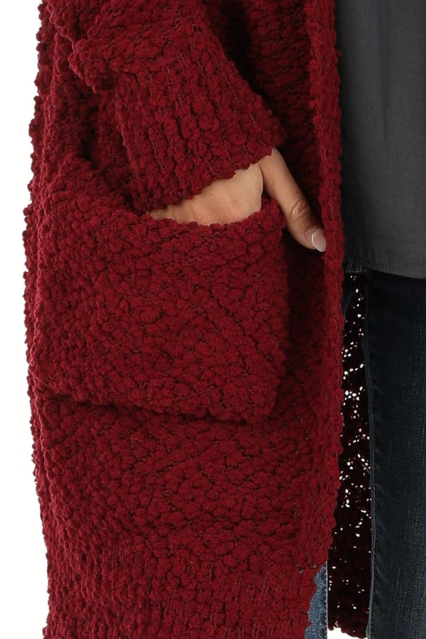 Sangria Popcorn Knit Long Sleeve Cardigan with Front Pockets detail