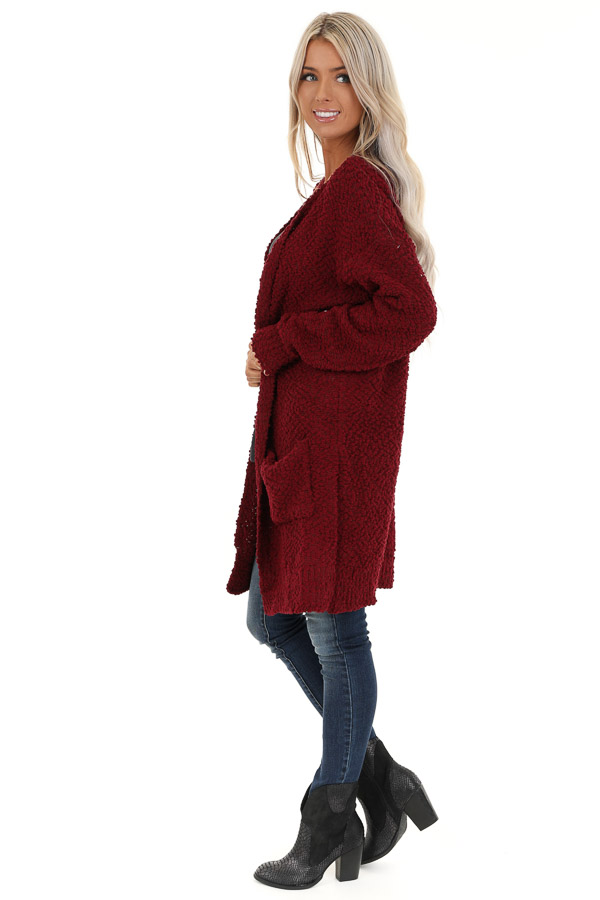 Sangria Popcorn Knit Long Sleeve Cardigan with Front Pockets side full body